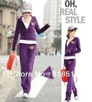 Best Quality Sport Brand Velvet Wool fleece Crown Tracksuits for Women Slim Velour Tracksuit Girls Hoodies Coats Clothing Pants