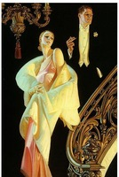 1932 J.C. Leyendecker, Couple Descending Staircase, Beautiful Art PRINT 19x12