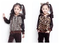 Free shipping autumn clothing children's clothing girls leopard suite Korea velvet track suit big boy / girl 2 suit