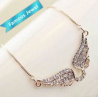 The refined Full drill wings  necklace 18k gold plated Quality First Free Shipping