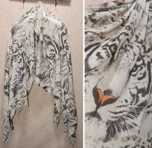 Reserved 2013 summer big tiger head scarf fashion silk scarf cape