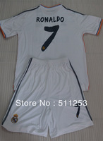 High quality2013/2014 youth soccer jersey kits Real Madrid Ronaldo #7 kids soccer uniforms children shirt