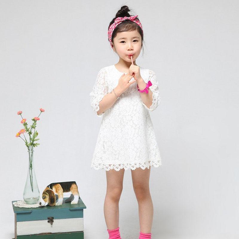 Children clothing beautiful white girls lace dress princess mini baby