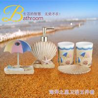Resin bathroom set of five pieces bathroom supplies  novelty seashell shape bathroom set  ocean theme bath sets nice gift set