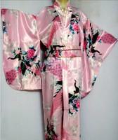 Hot Selling Pink Japanese Vintage Original Tradition Yukata Kimono Dress  with Obi One size H0045