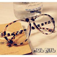 Hot saleNon-mainstream retro leopard big black box tide men sheet myopia eye glasses frames without plain filmfreeshipping