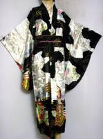Black Asia Japanese Ladies Vintage Original Tradition Silk Yukata Kimono Dress with Obi One size H0007