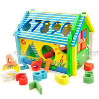 Educational toys digital shape small log cabin color 2