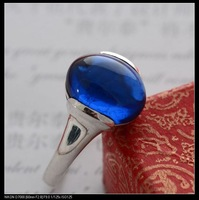 925 pure silver jewelry vintage thai silver blue corundum silver top fashion small Women ring