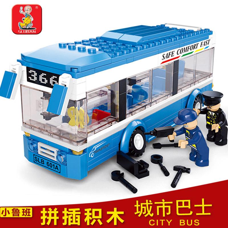 Lubanjiang small fight inserted blocks plastic assembling building blocks toy bus 0.38(China (Mainland))