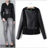 Autumn winter 2013 short design pu leather jacket for women woolen patchwork coat free shipping