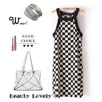 2014 women casual plaid printed one piece dress vestidos free shipping vestidos femininos