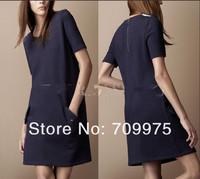 2014 hot sale brand dress slim dress short sleeve  fashionable   dress free shipping