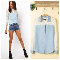2013 Autumn section European and American style fashion sexy hollow lace stitching long-sleeved denim shirt