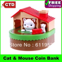2013 New Cute Cat and Mouse Moving Coin Bank Money Box Piggy Bank