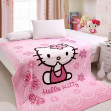 hello Kitty cartoon blanket coral fleece blanket the Zi Xia cooler double bed blankets, linens Free shipping(China (Mainland))