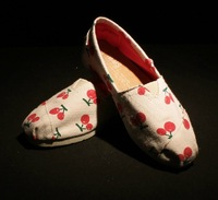 F66 Cherry printed canvas shoes lazy shoes LOVERS flat shoes