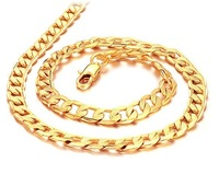 (Free shipping) 18K Gold Chain Necklace with Grain 7*500mm Necklace Gold Plated