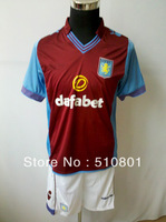 on sale Aston Villa home 13-14 100% polyester soft touch feel custom name and number quality football kits with free shipping