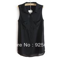 Freeshipping 2013 Summer European Brand Sleeveless Double Pockets Chiffon Cotton Blend Elegant Women Tops Blouse Tank Shirt