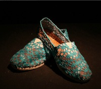 Hollow Out flat shoes Blue color net canvas shoes lazy shoes LOVERS flat shoes