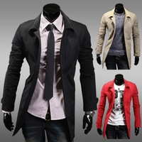 Free Shipping New Men's Trench Male brief medium-long single breasted outerwear solid color French front slim trench 2969