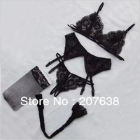 Best Selling!Sexy lace Dew milk bra lingerie with garter belt sheer net stockings 2set/lot Free Shipping