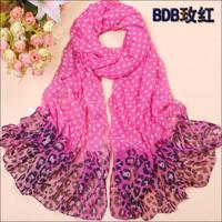 Free shipping! 2013 spring and autumn chiffon silk like scarf polka dot silk leopard print sunscreen scarf big size 170x70cm