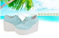 Free shipping Hot sale With Box NEW 2 color white and black patent leather platform   sneakers woman elevator shoes,48
