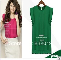 2013 free shipment new fashion women chiffon all-match shirt blouse S M L XL Sleeveless shirts Loose shirts Tops Casual