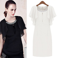 Free Shipping Summer Girls Pleated Chiffon Short Dresses Hand Beaded Round Neck Vintage Flower Floral Cute Casual Dress DM131597