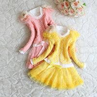Boutique Sweet fashion 2013 Autumn new arrival Children 3 piece set girls ace skirt set kids suit lace pearl coat+t shirt+skirt