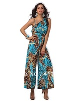 printed one shoulder sleeveless jumpsuit 1444 grey 5 colors romper costumes wholesale lingerie fashion women Sexy