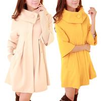 free shipping hot sale  woolen women's woolen overcoat medium-long woolen outerwear Wool Blends Coat