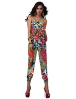 New Arrivals women  Boho  Off Shoulder romper 1457 MULTI LADY  Jumpsuits RED  3 COLORS OVERALL fashion 2013 SUMMER