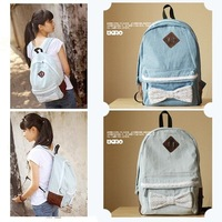 Cute Women Vintage Lace Jeans Backpack Bag Schoolbag Tote Campus Bow