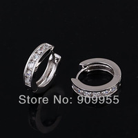 FREE SHIPPING & GOOD QUALITY Wholesales -- ELEGANT & Shiny Fashion Multi ROUND Zircon Stone HUGGIE Hoop Women Earrings