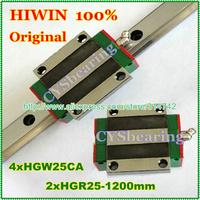 HGW25CA Taiwan Linear motion Guide rail HGR25 L=1200mm +2pcs HGW25 CA HGW25CA flange carriages Original HIWIN brand