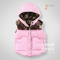 Free Shipping 2013 Winter&Spring Children's Clothing Baby girls Vest thickening padded waistcoat Double Size Flora Wear