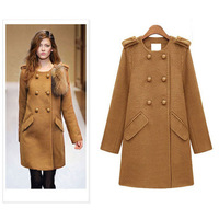 Free Shipping 2013 Slim  European  big high-grade double breasted  medium-long woolen coat women al-buy #4267