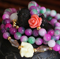Wholesale Fashion New High Quality Color Apple Stone Joker Long chain Flowers6mm Bead Elephant Women Gift Charm