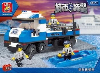 Best sale!Sluban blocks Urban SWAT series SWAT truck motorboat. 202pcs/set M38-B0186 Children's assembly toys free shipping