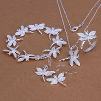 Factory price top quality 925 sterling silver dragonfly jewelry sets necklace bracelet bangle earring ring free shipping SMTS328