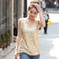 2013 spring and autumn women's loose vest basic shirt female paillette sleeveless spaghetti strap