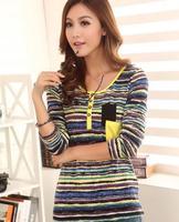 autumn NEW HOT women ladies Noble Tops Colorful Long-sleeve Rainbow stripe long-sleeve T-shirt female o-neck Cozy t shirt tee