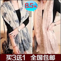 2013 scarf female bali yarn blue and white porcelain scarf spring and autumn and winter large cape dual-use ultra long silk