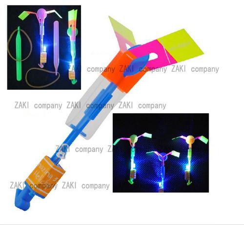 500PX Good Quality LED Light Up Amazing Flying Sling Arrow Helicopter Rocket Parachute Frisbee(China (Mainland))