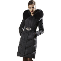 Female Long Winter Down Coat Black Luxurious Fox Fur Collar Slim Thickening Parka Womens