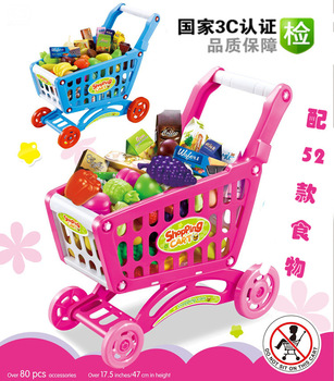 Shopping Trolley Kitchen Cabinets Toy Stethoscope Miniatures Wood Furniture Indoor Play Equipment Children Miniature Dollhouse
