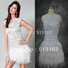 plus récent designer 2014 mancherons dentelle blanche plumes mini sexy backless robe de cocktail échantillon réel(China (Mainland))